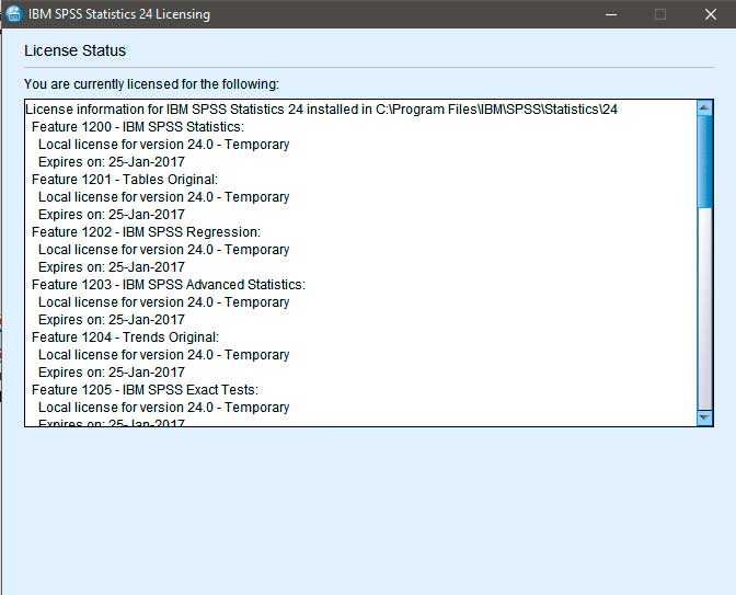 IBM SPSS Statistics 24 License Authorization Wizard