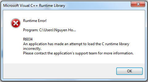 Microsoft Visual C++ Runtime Library Runtime Error