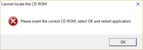 Please insert the correct CD