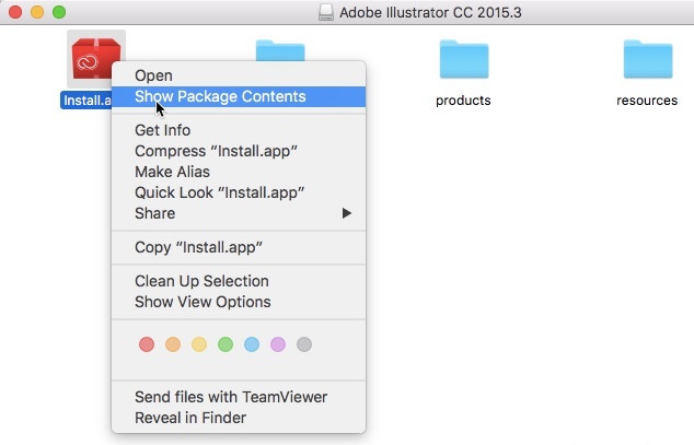 Show packages content macos adobe cc